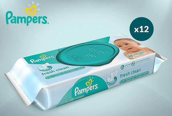 Pack 12 Paquetes Toallitas Húmedas Pampers Fresh Clean