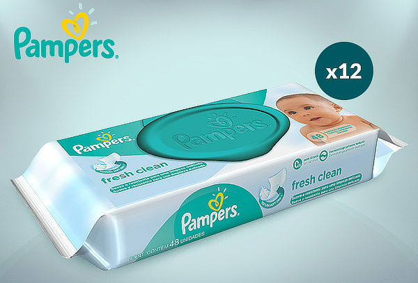 Pack 12 Paquetes Toallitas Húmedas Pampers Fresh Clean