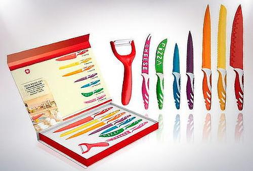 Set 6 Cuchillos + Pelador Acero Inoxidable Cerámico