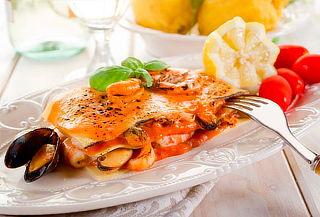 Lasaña camaron con pulpo o salmón