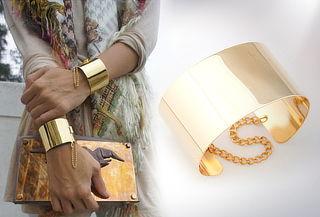 Set de 2 pulseras brazalete dorado