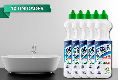 10 Botellas 900 ml de Cloro Gel marca Igenix