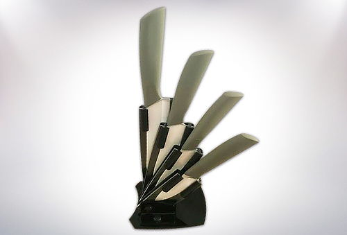 Set 4 Cuchillos 100% Cerámica + Soporte!