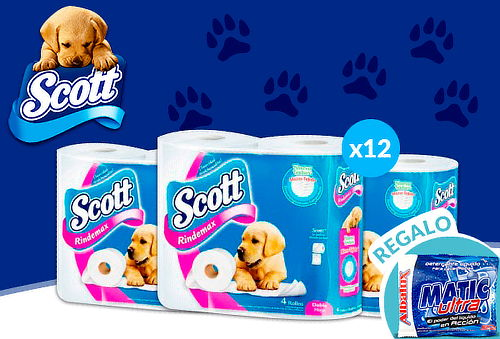Pack 48 Rollos de Scott Rindemax Doble Hoja!