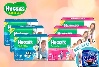 Pack 3 Paquetes de Pañales Huggies Active Sec!