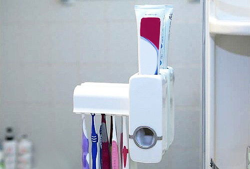 Dispensador de Pasta Dental y Porta Cepillo