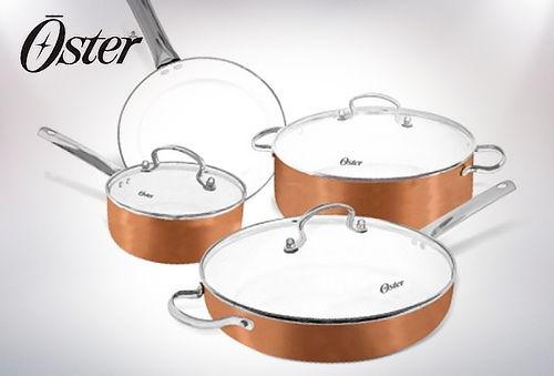 Batería de Cocina 7 Piezas  Cobre con Inducción, Oster