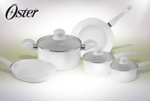 Batería de Cocina 8 Piezas de Cerámica Blanco, Oster