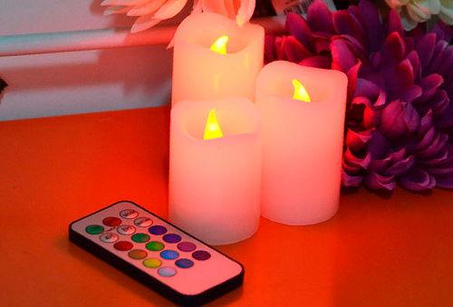 Set de 3 velas a control remoto decorativas
