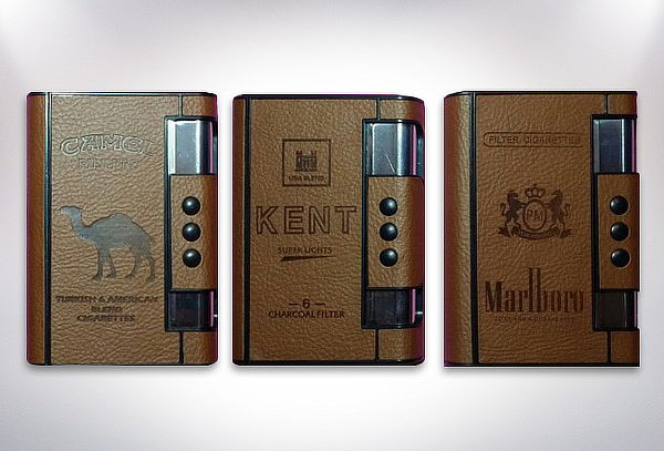 Cigarrera con encendedor y saca cigarros automatico