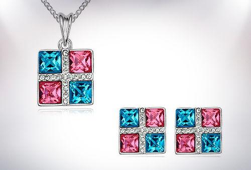 Lindos colgantes + aros con cristales swarovski elements