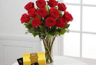 Jarrón 12 Rosas + Tarjeta + Chocolates + Envío