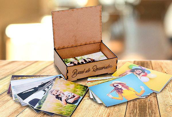 Baúl de Fotos en Madera + Impresión de 99 Fotos