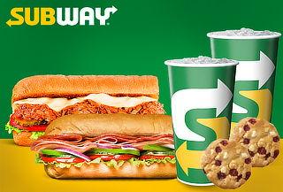 SUBWAY: 2 Combos de Sándwich + Galleta + Bebida en 25 Sedes