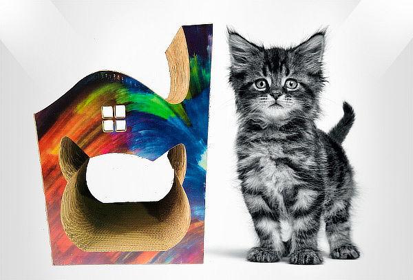 Rascador Tipo Casa para Gato en Cartón Corrugado
