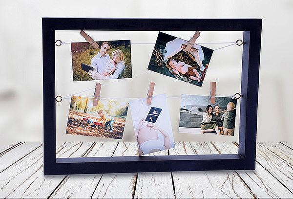 Porta Retrato Flotante + 5 Fotos Impresas