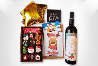 Caja de 15 Brownies Navideños + Vino + Tarjeta + Envío