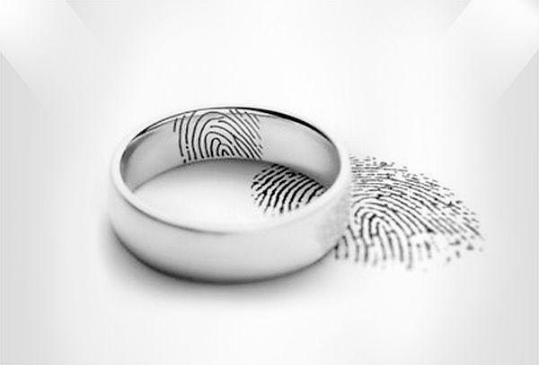Argollas de Matrimonio en Plata con Huellas Grabadas