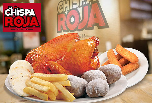 CHISPA ROJA: 1 Pollo Asado + Papa Salada + Yuca + Arepa