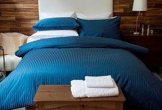 Juego de Sabanas Hoteleras Efecto Sateen Con Embone Azul P