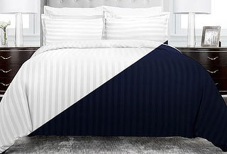 Duvet Cover Líneas Microfibra Azul o Blanco