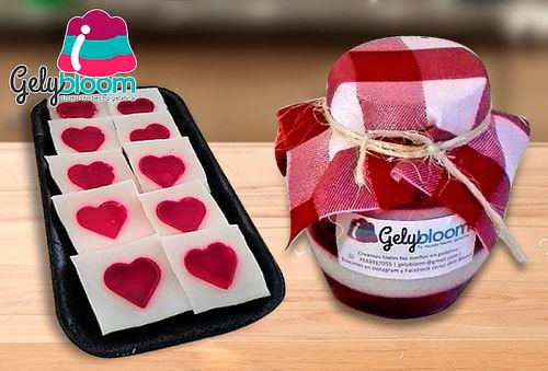 10 Láminas de Corazón en Gelatina + Frasco con Gelatina