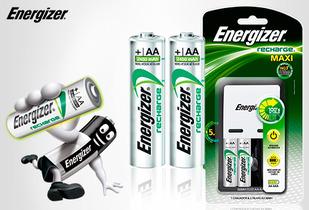 OUTLET - Cargador Maxi + Pila Recargable Aax4 Eveready Kit