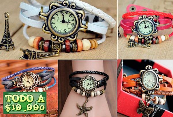 OUTLET - Reloj Pulsera Cuponatic Cuero Artesanal Vintage Con Dije
