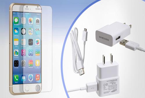 OUTLET - Kit De Vidrio Templado Cuponatic Para Iphone Y Samsung Kit Vidrio Templado Samsung Galaxi S4 (audifonos + vidrio templo + cargador enchufe)