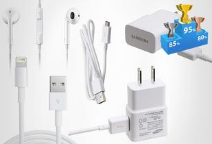 OUTLET - Ki Cargador Cuponatic Para Iphone Y Samsung Kit Cargador $24,990/Kit Cargador Samsung Galaxi S3/S4/S5 (audifonos + screen + cargador carro + cargador enchufe)