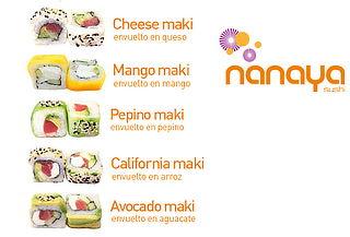 Entrada + 2 Rollos de Sushi + 2 Bebidas en Nanaya 2 Suc