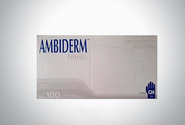Caja con 100 Guantes Nitrilo Violeta Talla Chica  Ambiderm