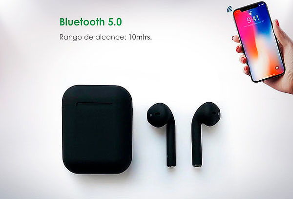 Mini Audifonos Bluetooth i12 Tws color Blanco + Cargador Magnetico