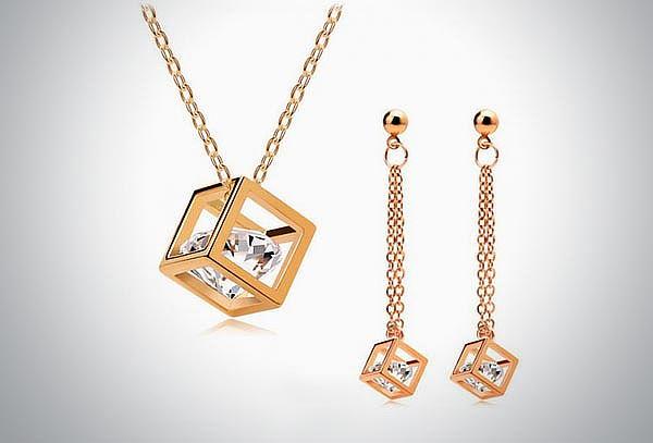 """Set de collar y aretes """"Glass Gold"""" con cristales austriacos"""