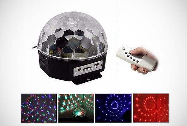 Esfera Parlante con Luces Audiorítmicas USB + Control Remoto