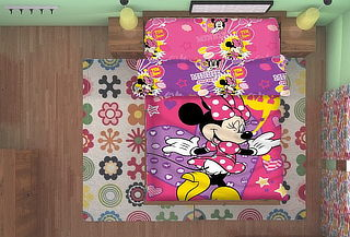 Set de Cama Quilt Diseño Mickey o Minnie de 1.5 Plazas
