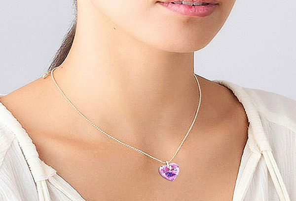 Collar Corazón Violeta Aurora Boreal Dije Cristal Swarovski