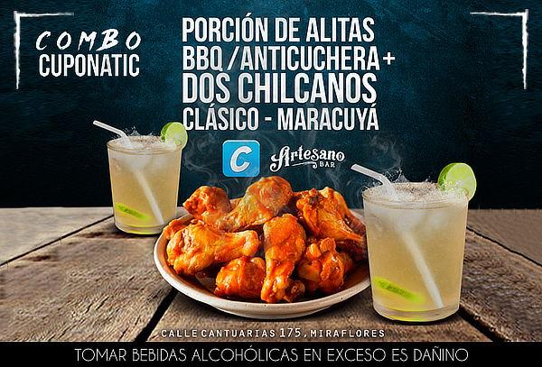 ¡Chilcanos y Alitas para 2 en Salsa a Elegir! Artesano Bar