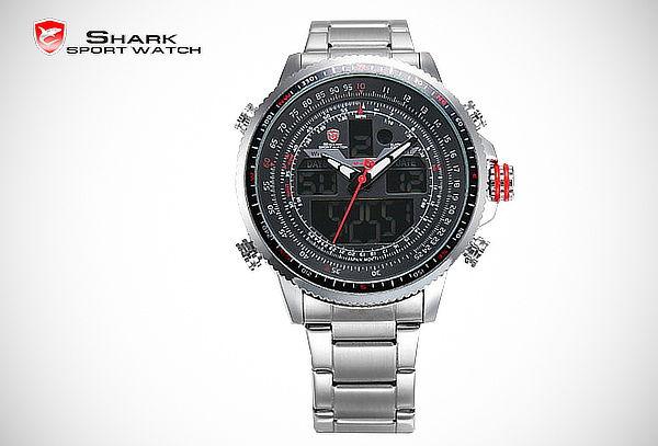 ¡Regalo Perfecto! Reloj Shark Winghead LCD Alarma Cronógrafo