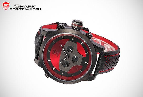 Reloj Shark Requiem - 6 Agujas Cuero Deportivo