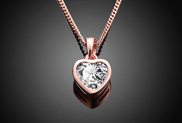 b0e8f841b277 Collar de Corazón Enchapado en Oro Blanco u Oro Rosa ...