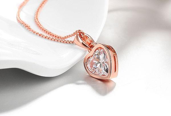 dde48863d8cb ... Collar de Corazón Enchapado en Oro Blanco u Oro Rosa ...