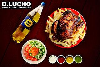 Pollo a la Leña + Papas Fritas + Gaseosa 1.5 LT y Mas
