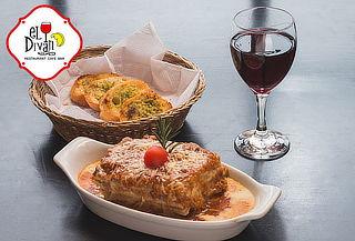 2 Lasagnas ó 2 Spaguettis Huancaina + 2 Copas de vino y más