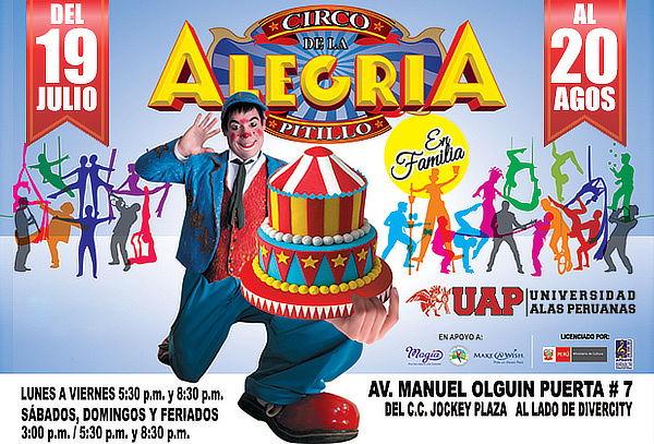 3b9700ae99 Promoción Circo de la Alegría de Pitillo, En Familia desde S/ 50.00 ...