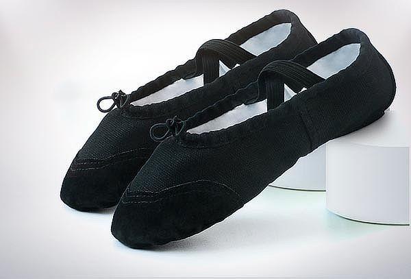 Zapatillas de Ballet Media Punta Lona Suela Partida Black