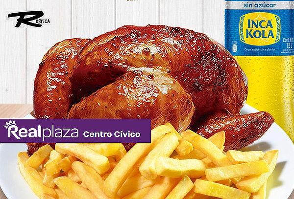 ¡Rústica C.Cívico! 01 Pollo a la Brasa + papas + Gaseosa