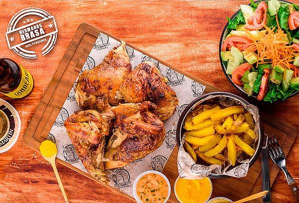 ¡QUÉ RICO! Pollo a la Brasa + Papas en Hermanos Brasa