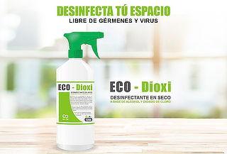¡Todos tus Espacios Limpios! Eco-Dioxi Desinfectante de 1Lt