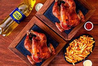 2 pollos a la brasa + papas fritas familiares + gaseosa 1.5